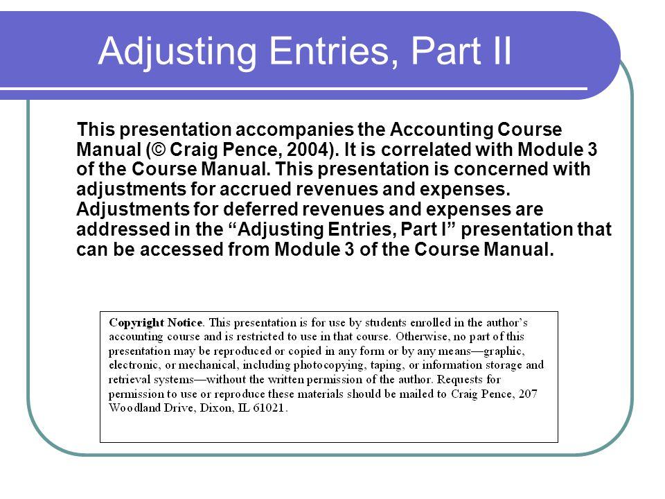 Adjusting Entries, Part II