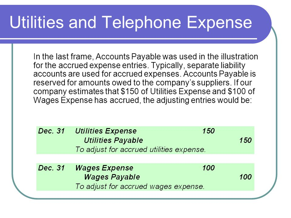 Utilities and Telephone Expense