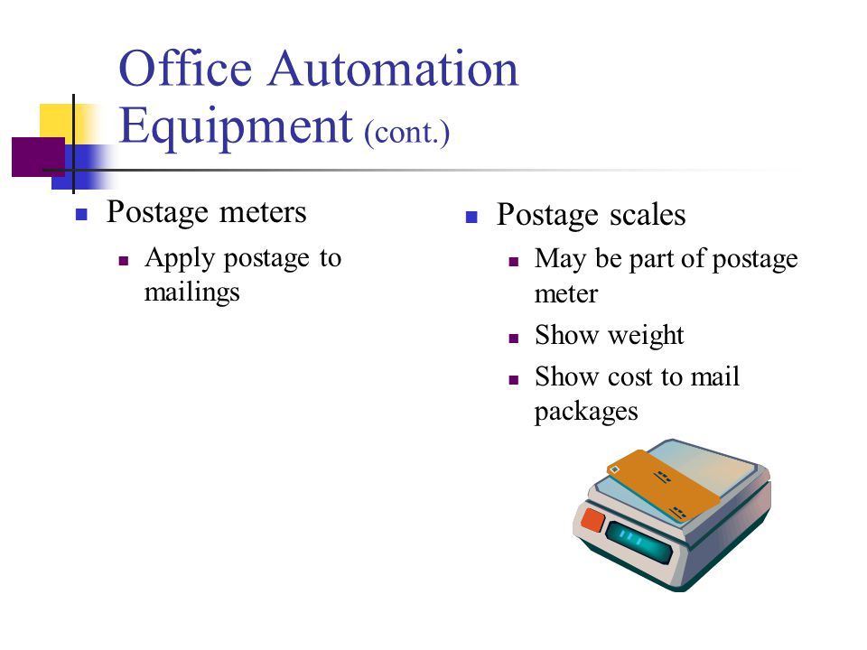 Office Automation Equipment (cont.)