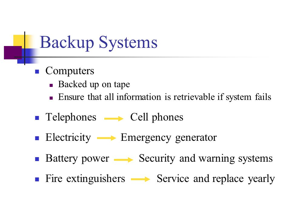 Backup Systems Computers Telephones Cell phones