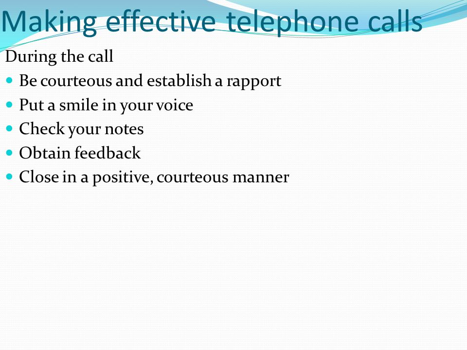 Making effective telephone calls