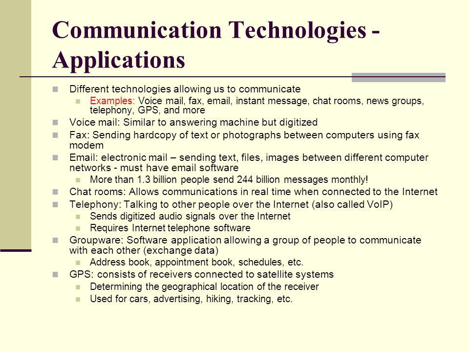 Communication Technologies - Applications