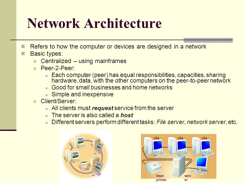Network Architecture Refers to how the computer or devices are designed in a network. Basic types: