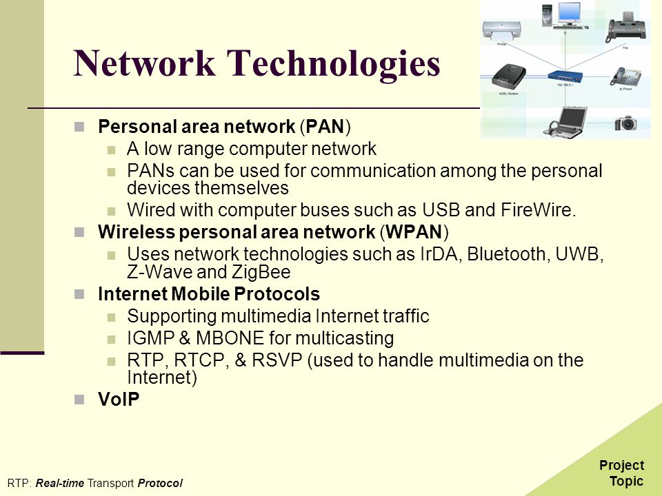 Network Technologies Personal area network (PAN)