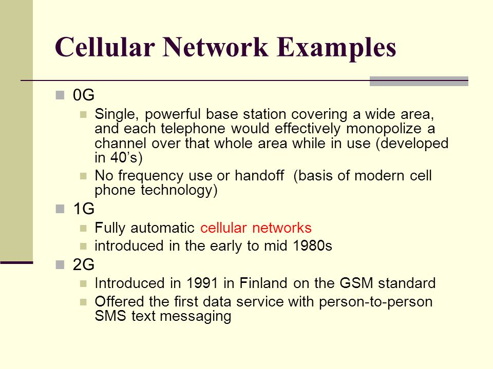 Cellular Network Examples