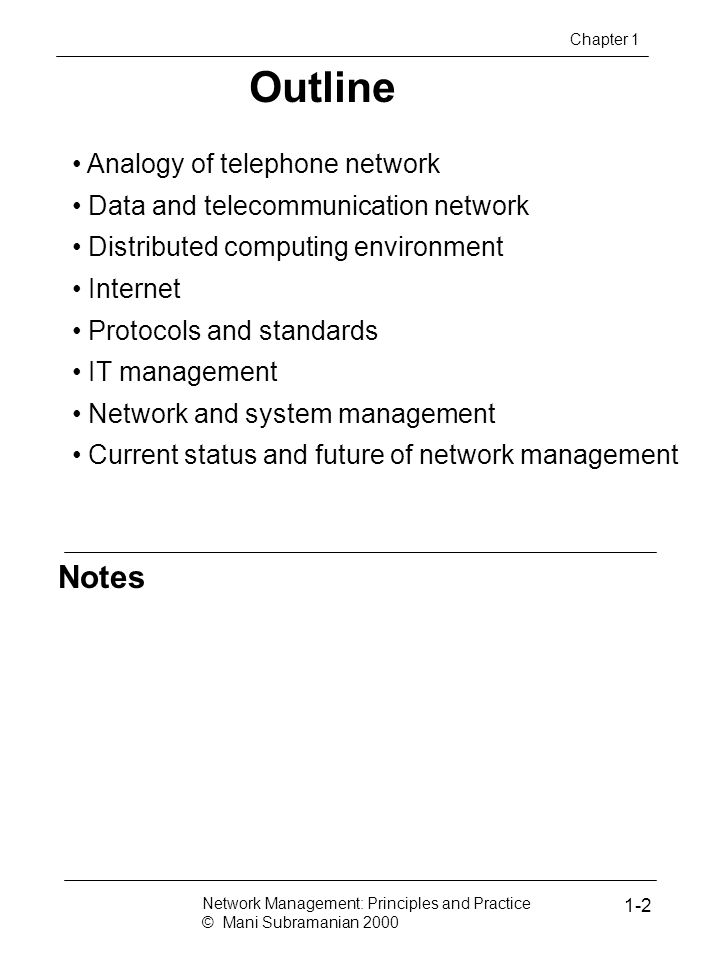 Outline Notes Analogy of telephone network