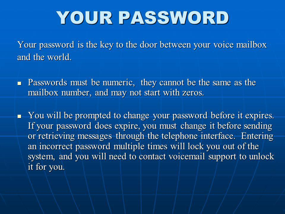 YOUR PASSWORD Your password is the key to the door between your voice mailbox. and the world.
