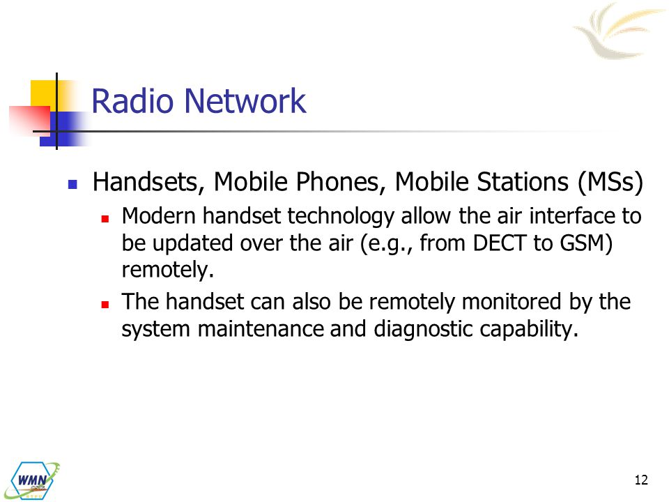 Radio Network Handsets, Mobile Phones, Mobile Stations (MSs)