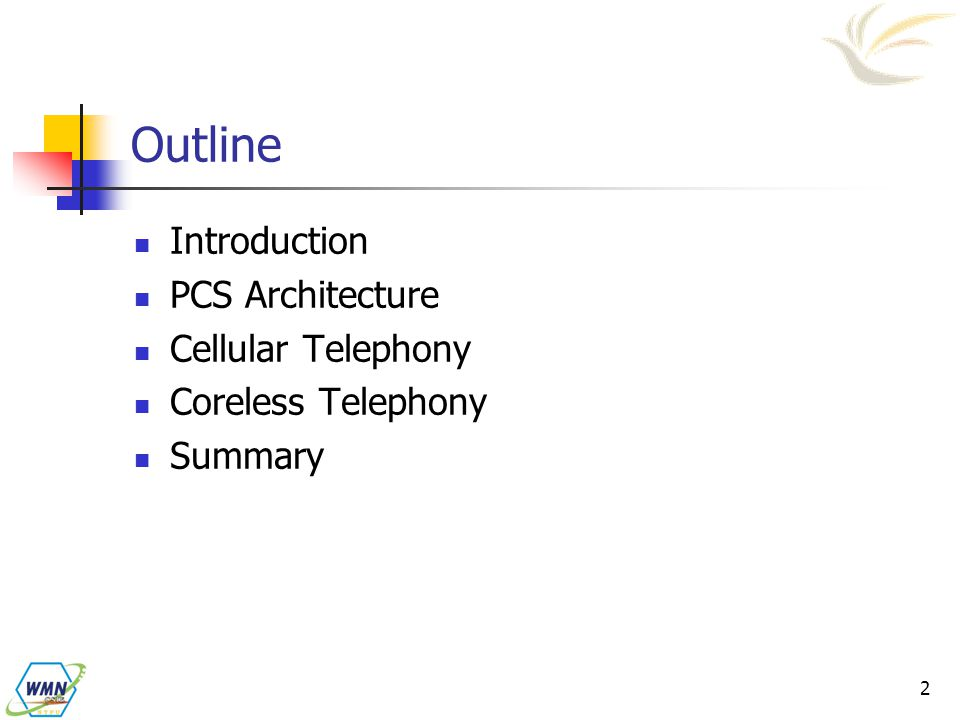 Outline Introduction PCS Architecture Cellular Telephony
