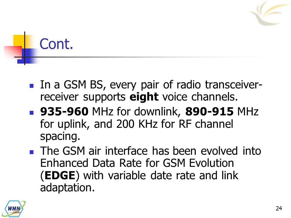 Cont. In a GSM BS, every pair of radio transceiver-receiver supports eight voice channels.