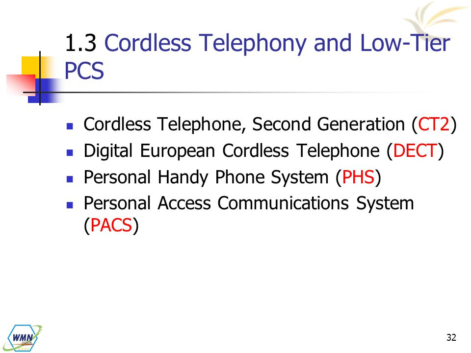 1.3 Cordless Telephony and Low-Tier PCS