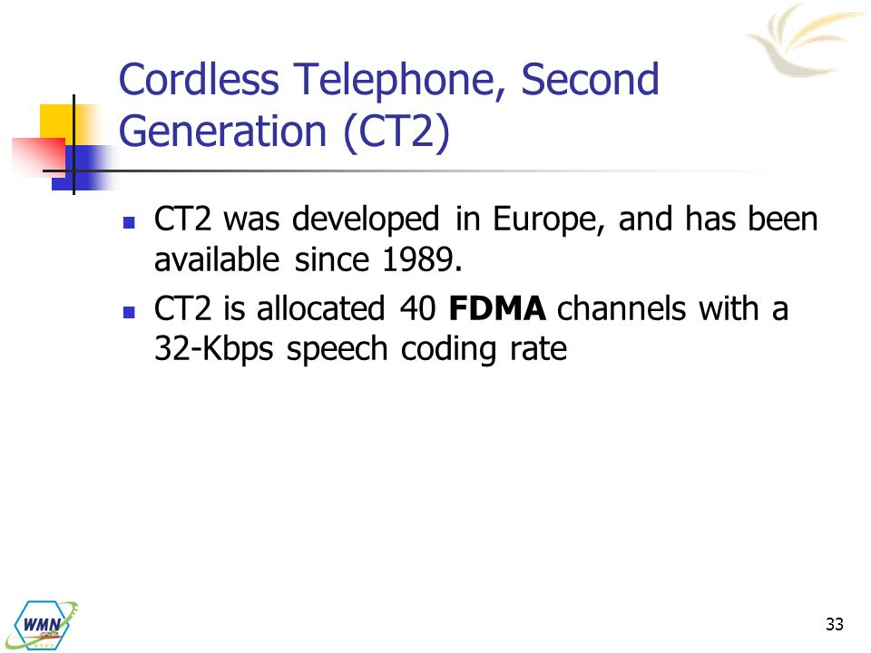 Cordless Telephone, Second Generation (CT2)