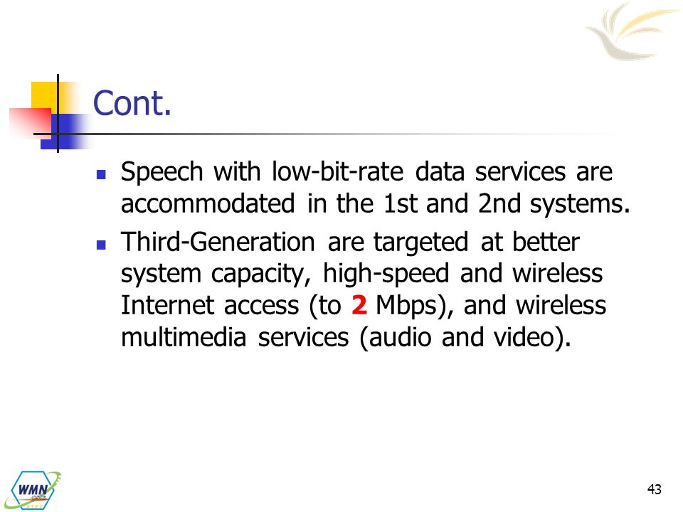 Cont. Speech with low-bit-rate data services are accommodated in the 1st and 2nd systems.