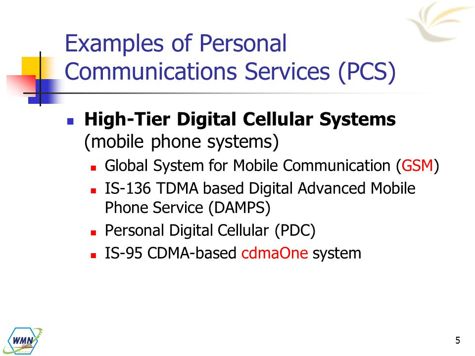 Examples of Personal Communications Services (PCS)