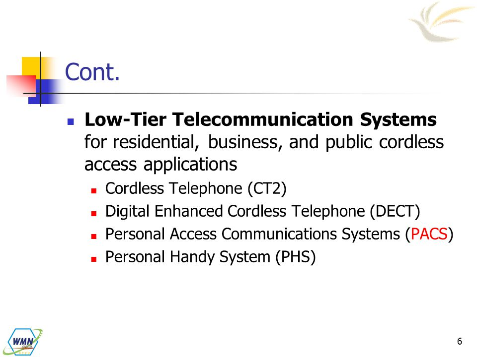 Cont. Low-Tier Telecommunication Systems for residential, business, and public cordless access applications.