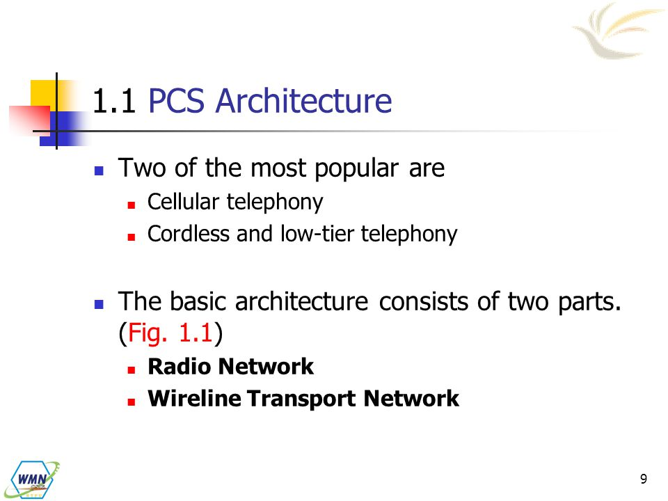 1.1 PCS Architecture Two of the most popular are