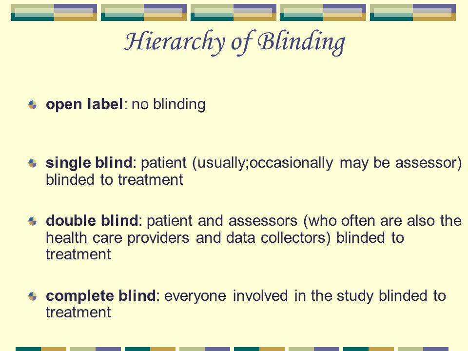 Hierarchy of Blinding open label: no blinding