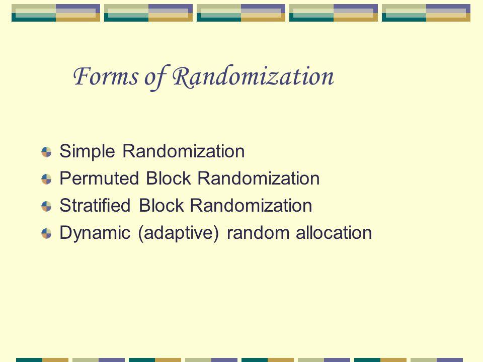Forms of Randomization