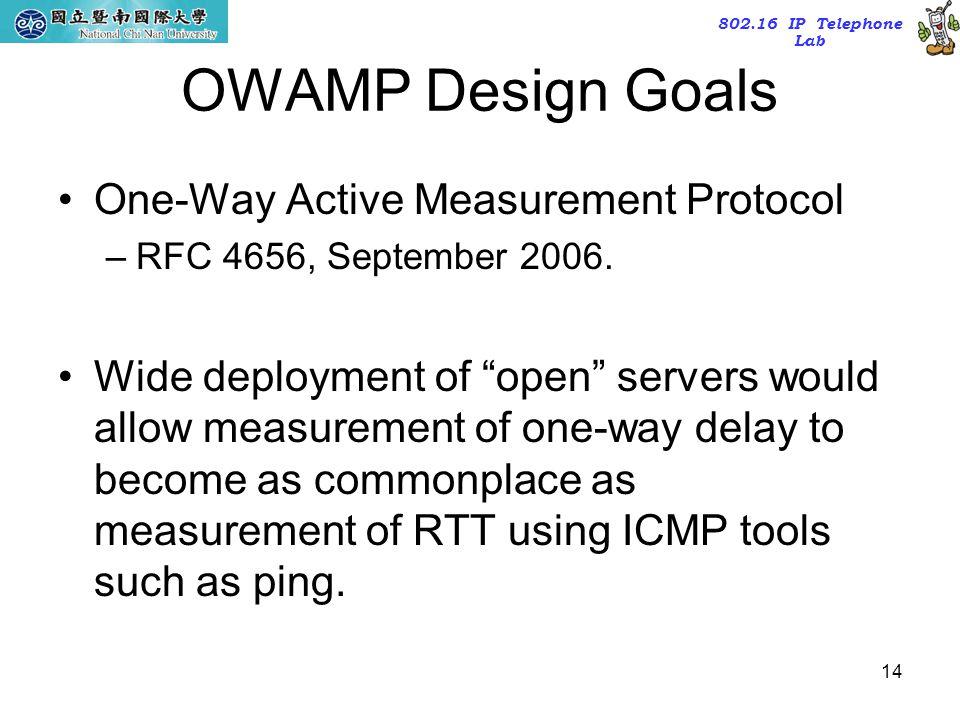 OWAMP Design Goals One-Way Active Measurement Protocol