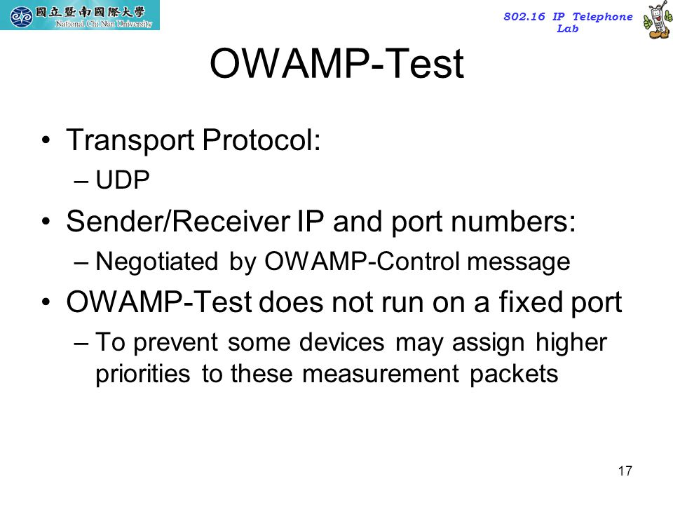 OWAMP-Test Transport Protocol: Sender/Receiver IP and port numbers: