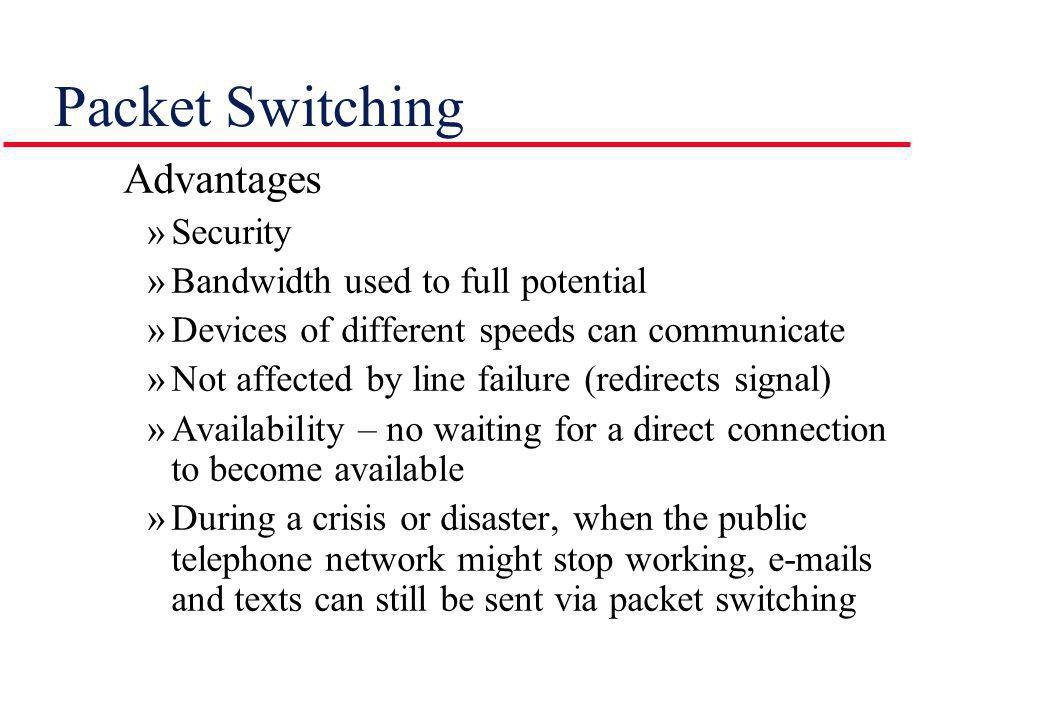 Packet Switching Advantages Security Bandwidth used to full potential