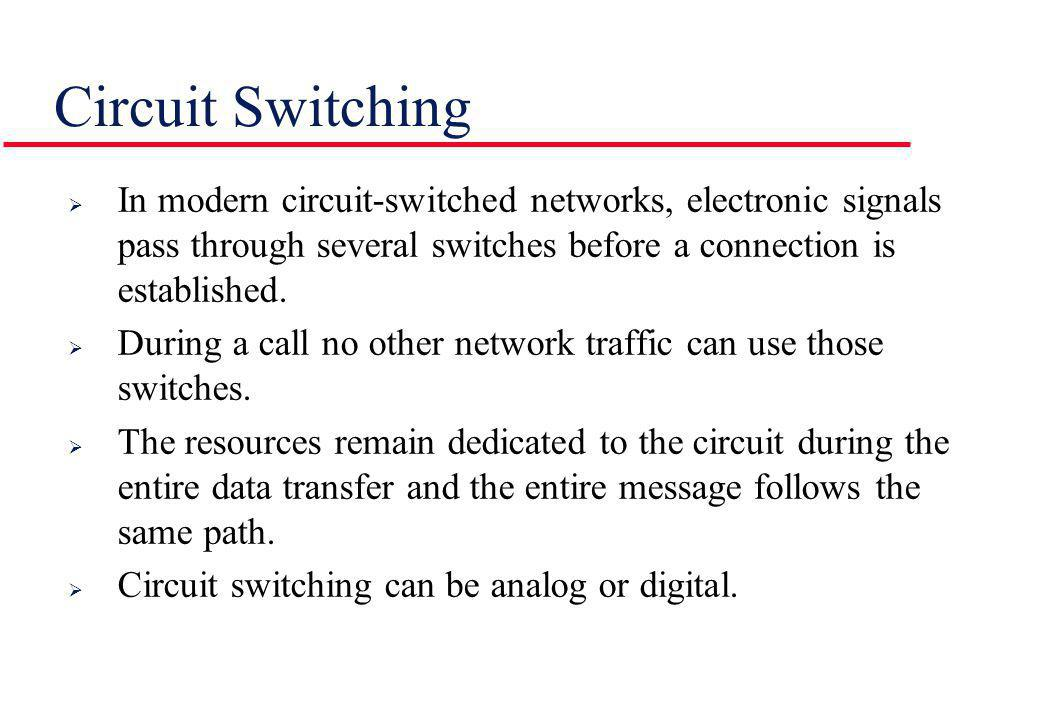 Circuit Switching In modern circuit-switched networks, electronic signals pass through several switches before a connection is established.