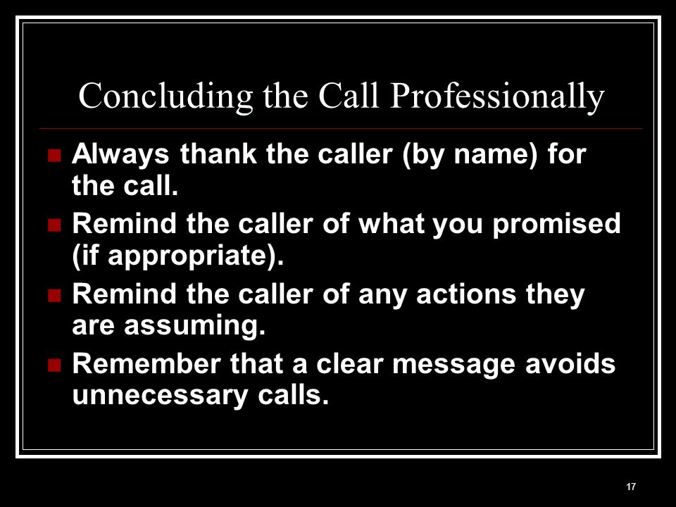 Concluding the Call Professionally
