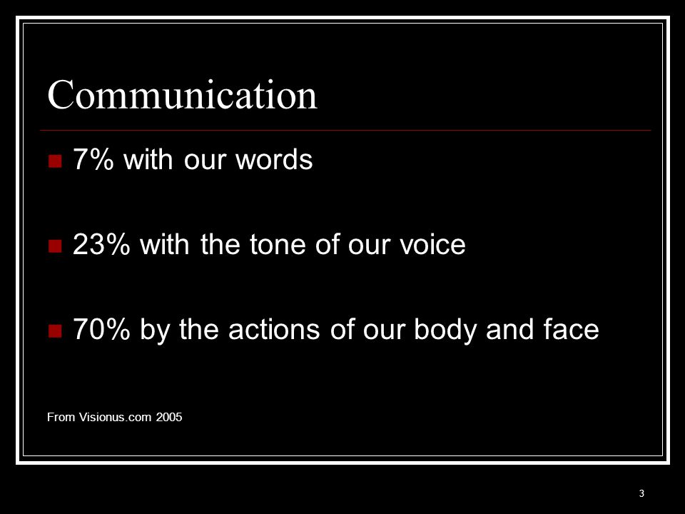 Communication 7% with our words 23% with the tone of our voice
