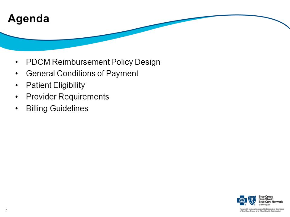 Agenda PDCM Reimbursement Policy Design General Conditions of Payment