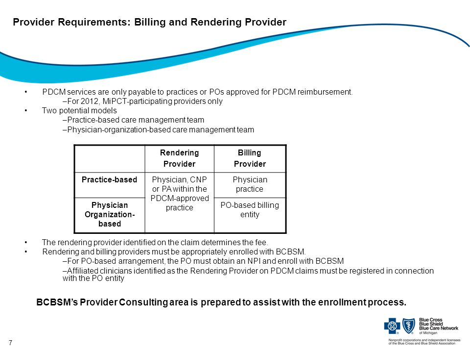 Provider Requirements: Billing and Rendering Provider