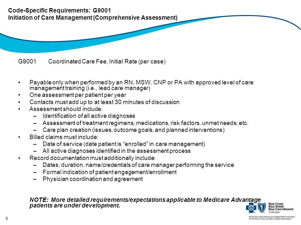 Code-Specific Requirements: G9001 Initiation of Care Management (Comprehensive Assessment)