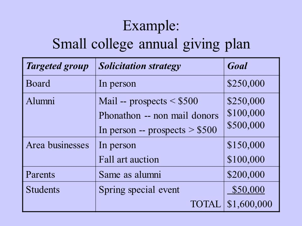 Example: Small college annual giving plan