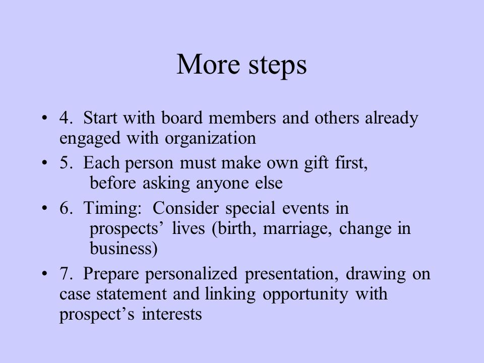 More steps 4. Start with board members and others already engaged with organization.