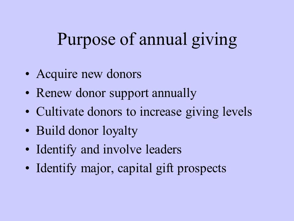 Purpose of annual giving