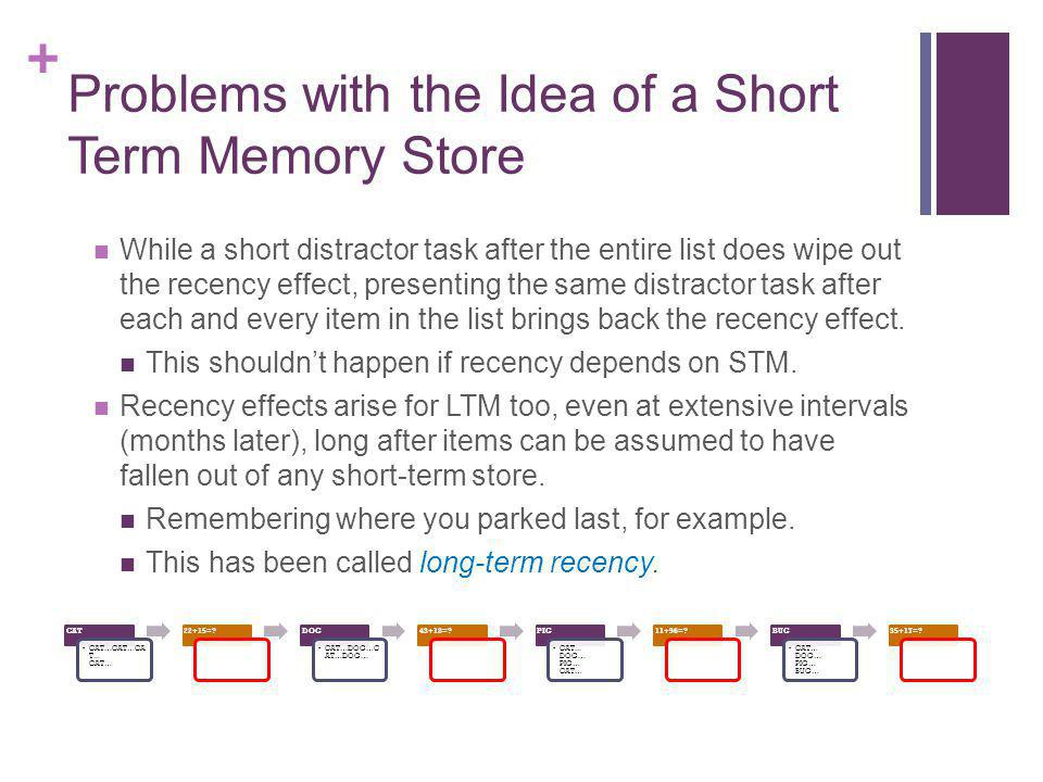 Problems with the Idea of a Short Term Memory Store