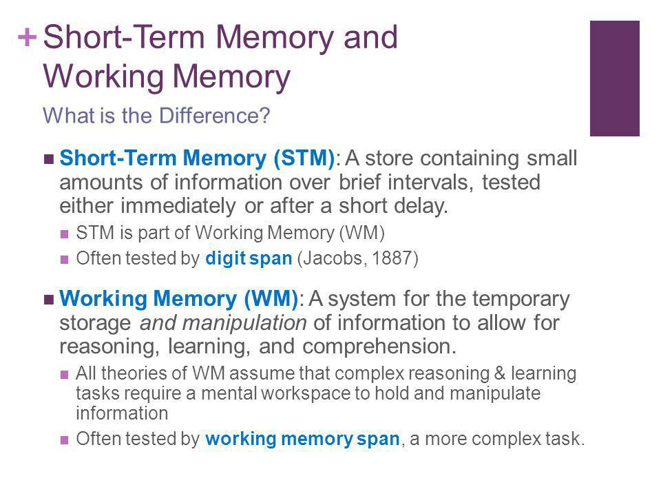 measuring short term memory span by Capacity of the short-term motor memory of children and adults, with and without   tests that are used to measure the capacity of short-term memory are called.