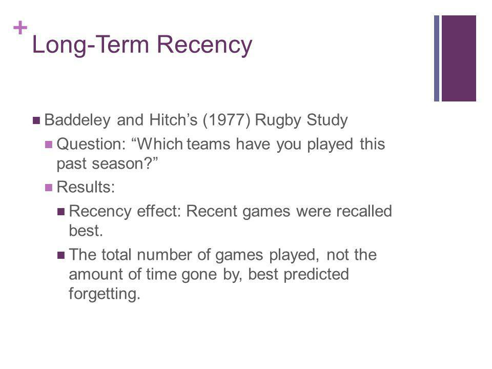 Long-Term Recency Baddeley and Hitch's (1977) Rugby Study