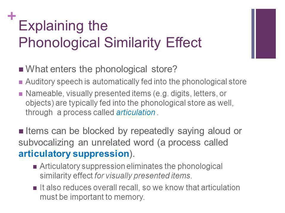 Explaining the Phonological Similarity Effect