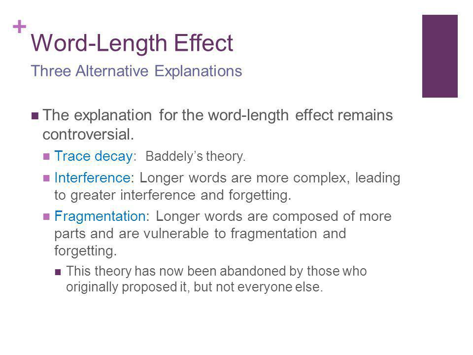 Word-Length Effect Three Alternative Explanations