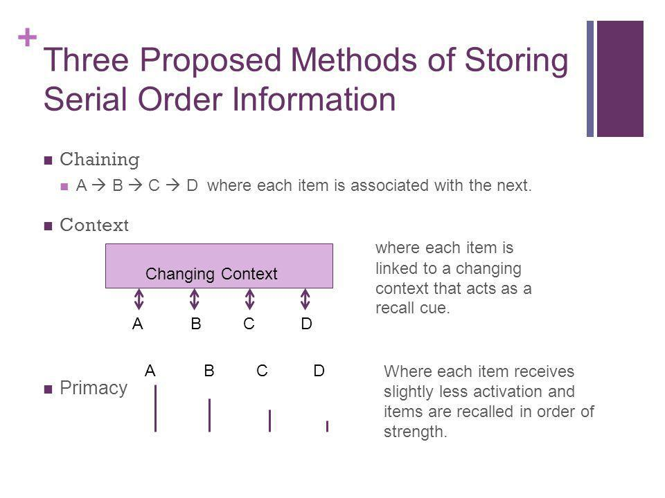 Three Proposed Methods of Storing Serial Order Information