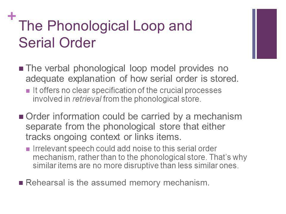 The Phonological Loop and Serial Order