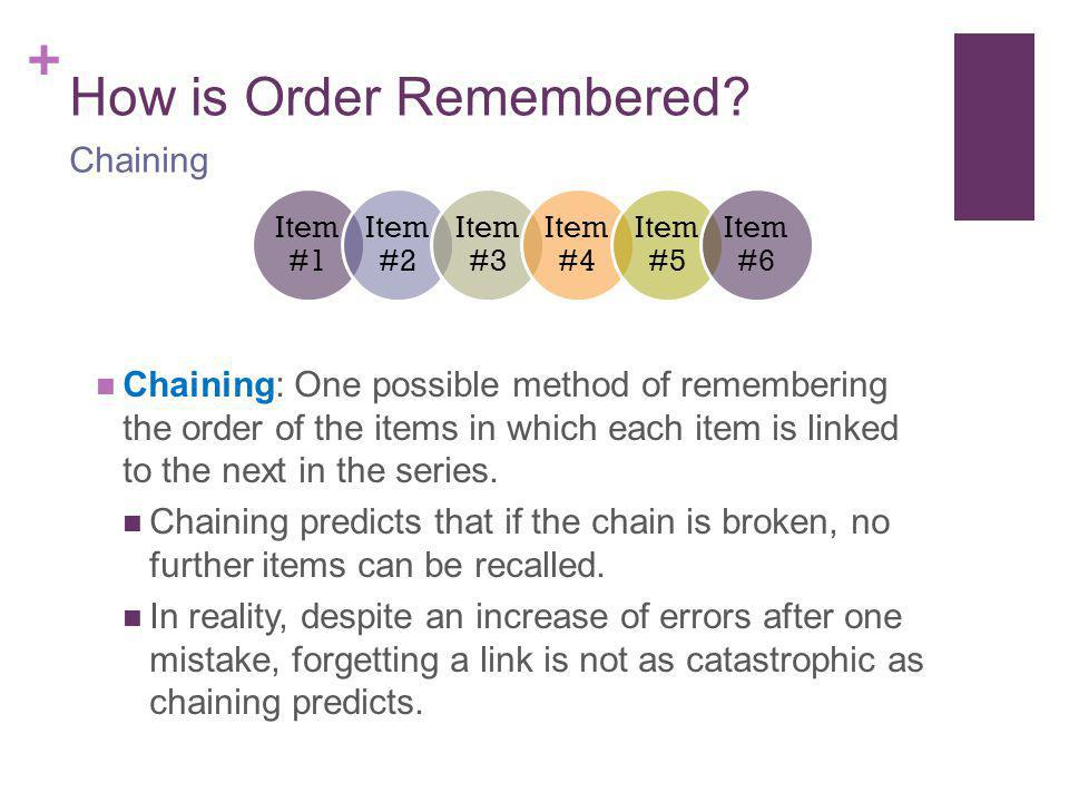 How is Order Remembered