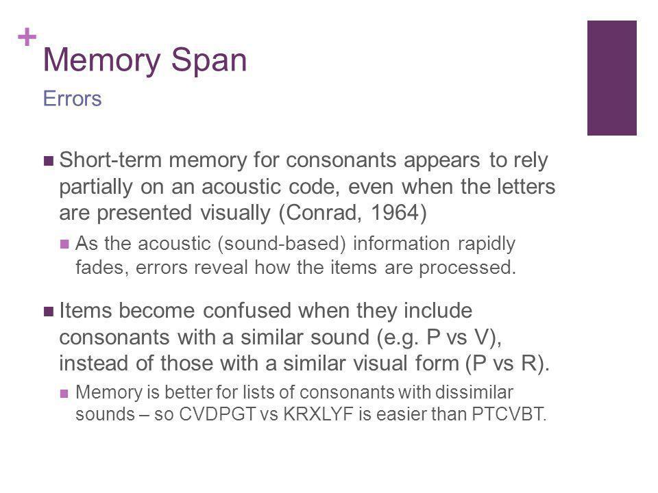 Memory Span Errors.