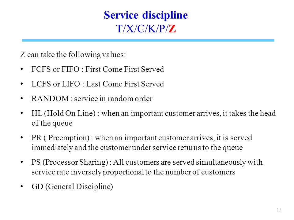 Service discipline T/X/C/K/P/Z Z can take the following values: