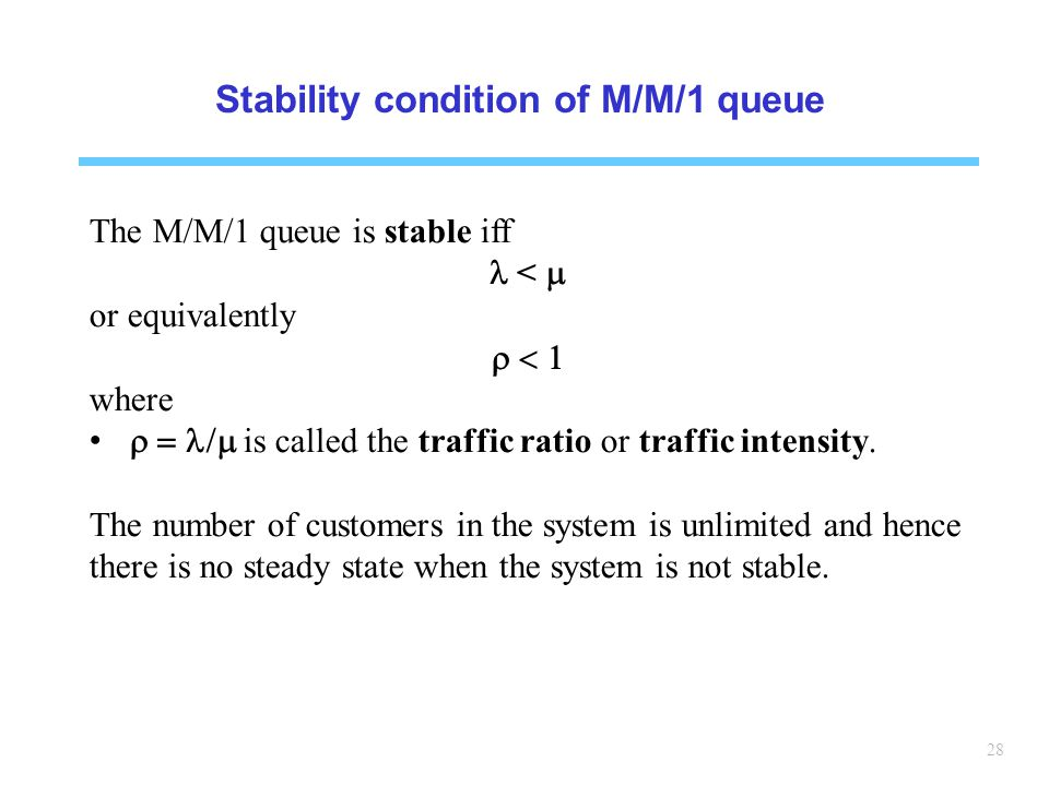 Stability condition of M/M/1 queue