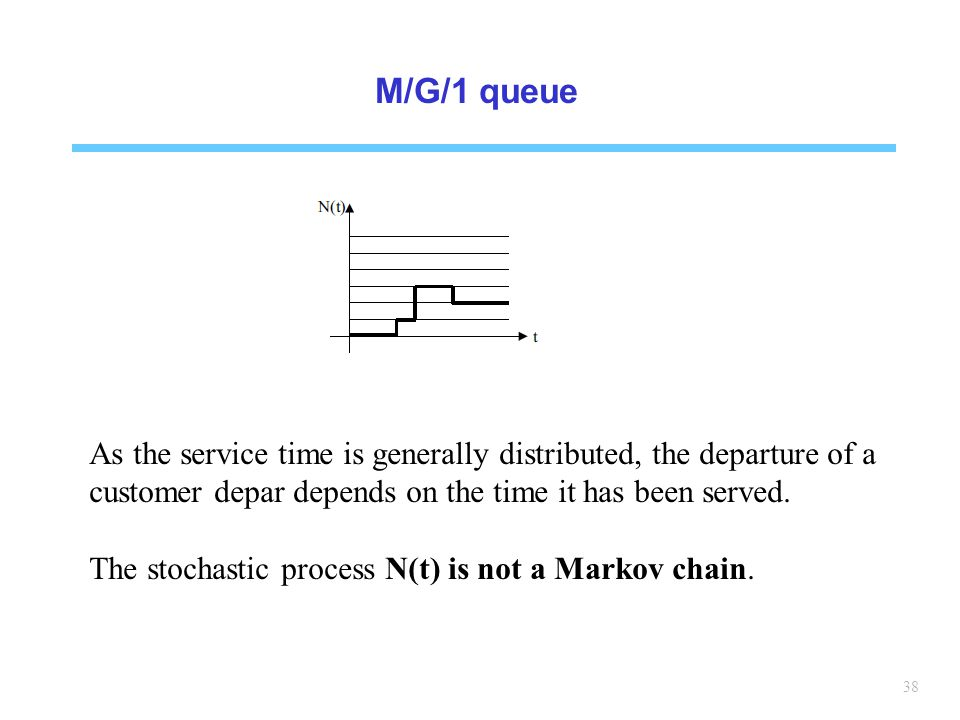 M/G/1 queue As the service time is generally distributed, the departure of a customer depar depends on the time it has been served.