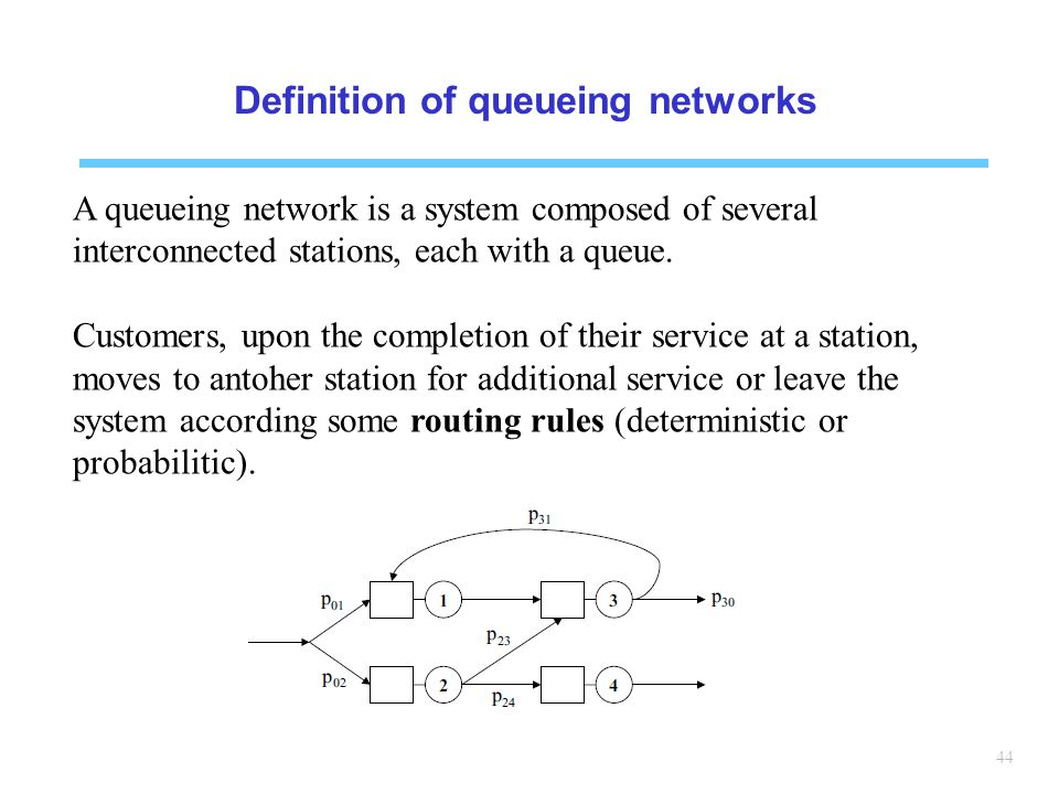 Definition of queueing networks