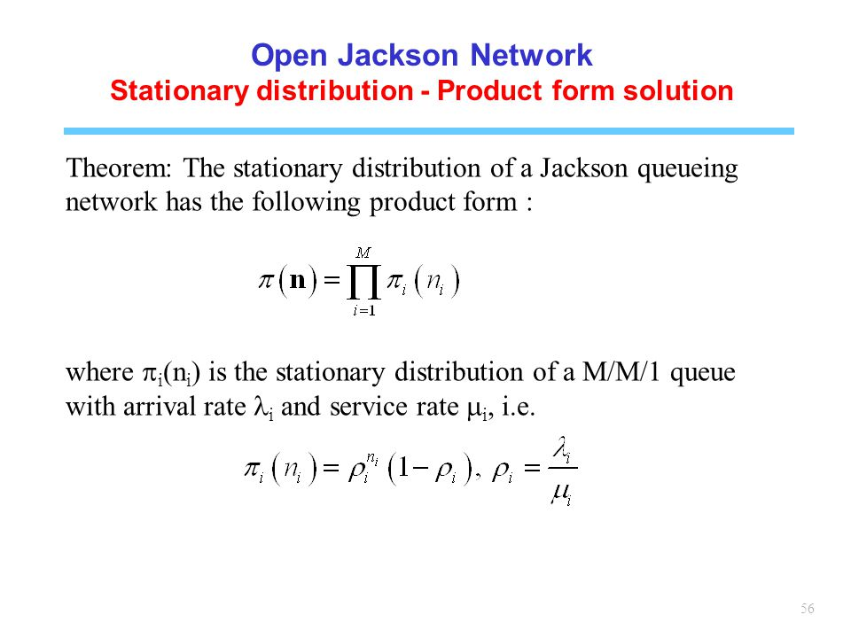 Stationary distribution - Product form solution