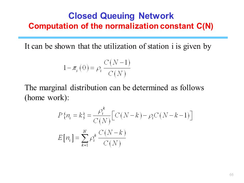Closed Queuing Network Computation of the normalization constant C(N)