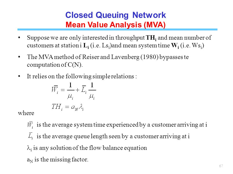 Closed Queuing Network Mean Value Analysis (MVA)